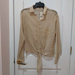 GARAGE Sand blouse with gold reflects